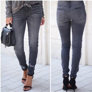 Denim - Gray Distressed Destroyed Whiskered Skinny Jeans